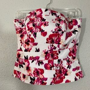 WHBM Cotton Pink Floral Strapless Top size 6